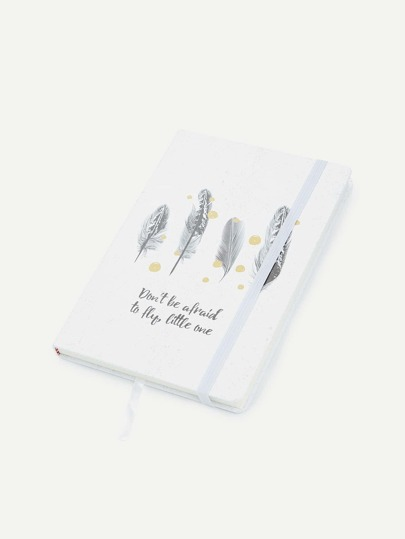 Feather & Slogan Print Notebook