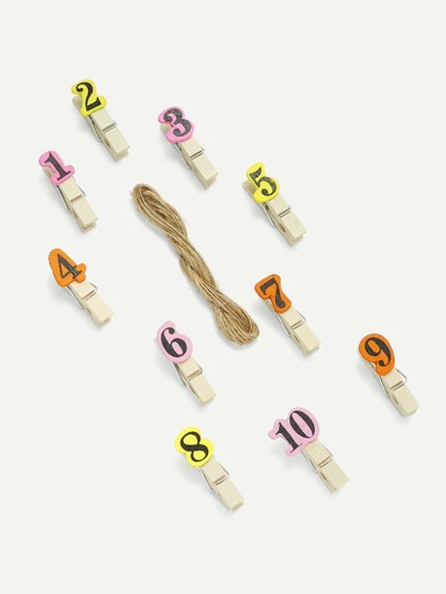 Number Print Wooden Clips 10Pcs