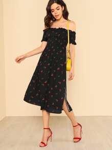 Cherry and Polka Dot Print Shirred Off Shoulder Dress BLACK