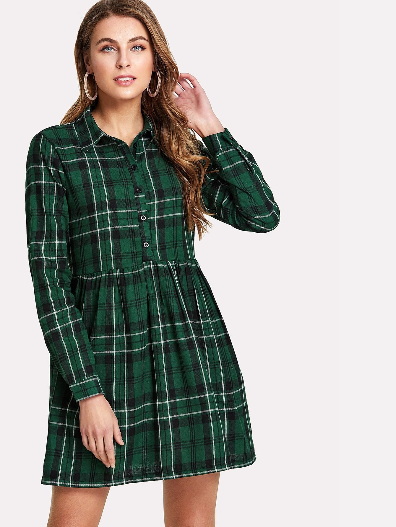 Half Placket Check Smock Dress half placket striped smock shirt dress
