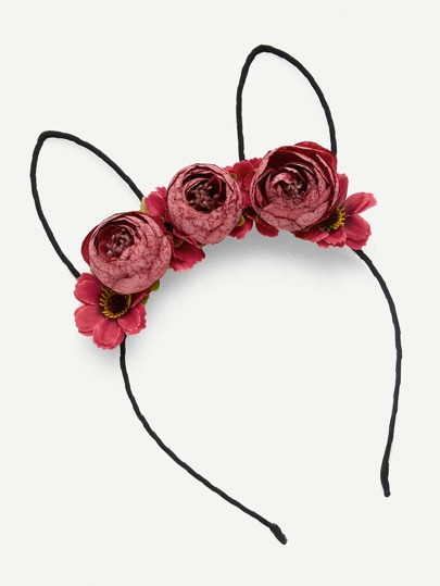 Rabbit Ear Flower Embellished Headband