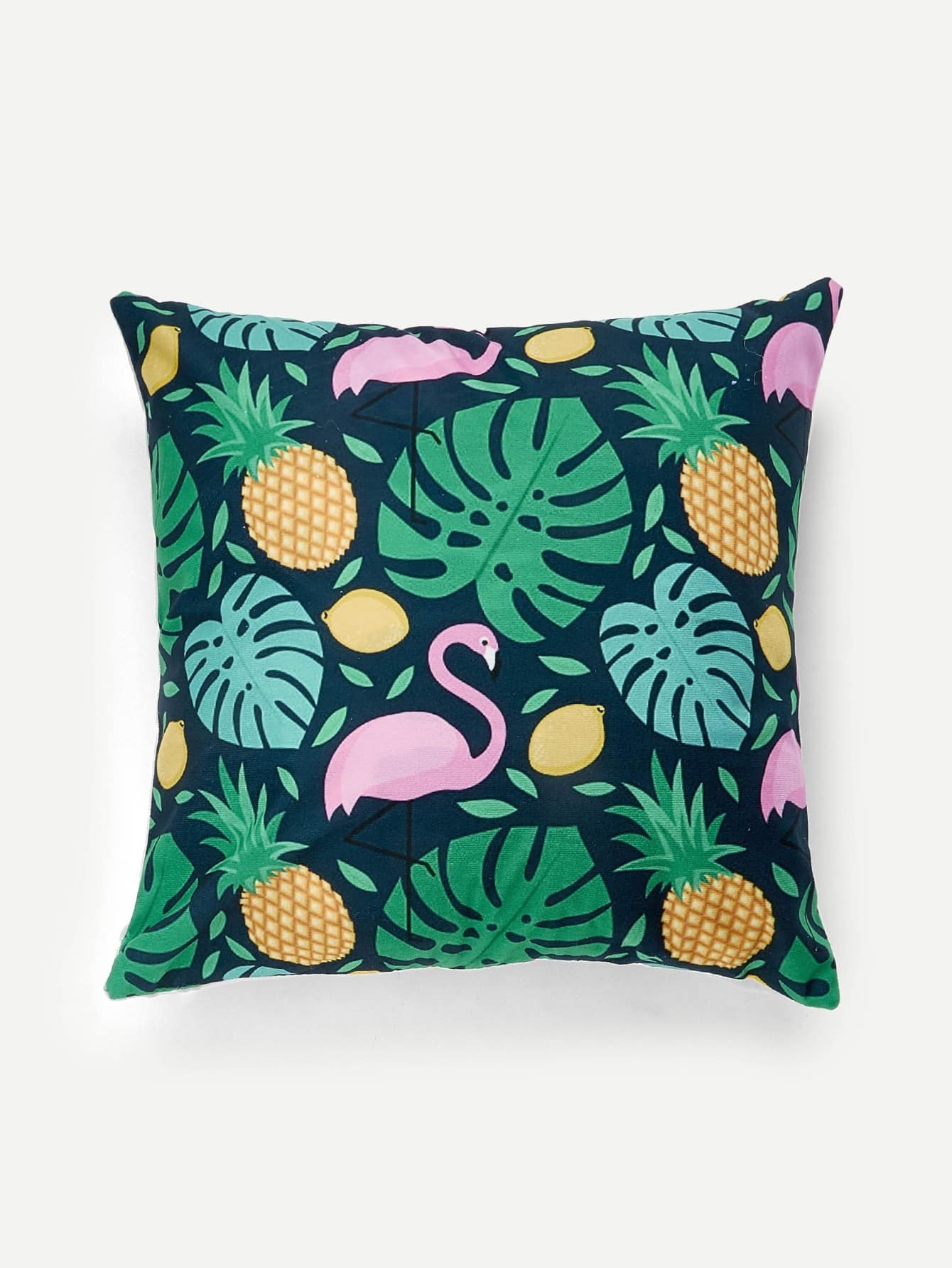 Flamingo & Pineapple Print Cushion Cover