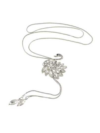 Full Rhinestone Swan Pendant Necklace