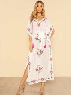 Flower Embroidery Tassel Tied Kaftan Dress
