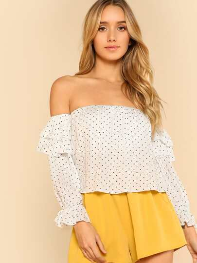 Off Shoulder Flounce Hem Long Sleeve Polka Dot Top WHITE