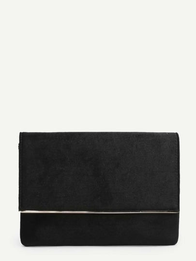 Metal Detail Clutch Bag With Chain Strap