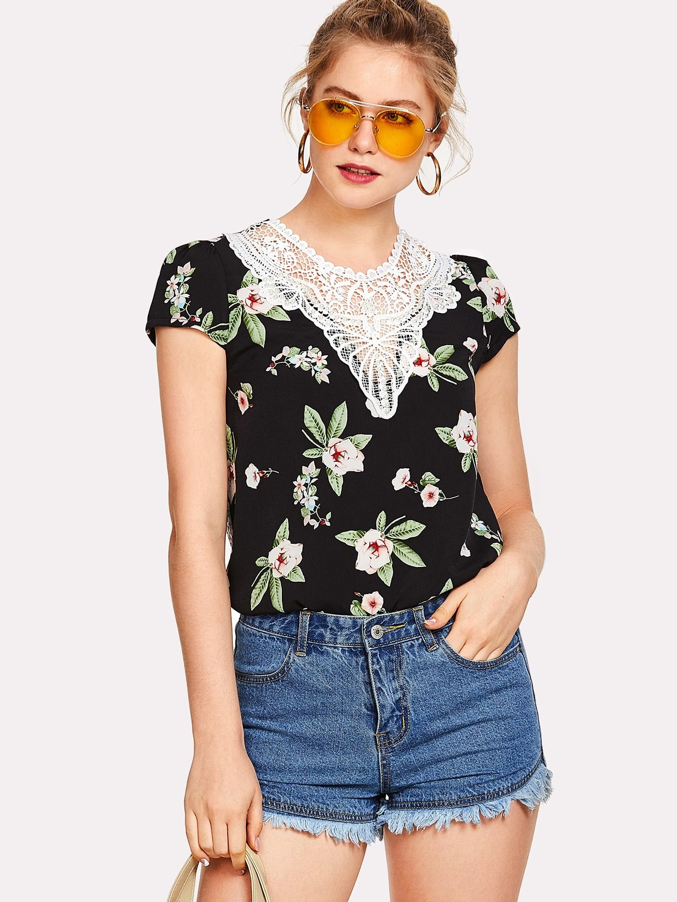 Lace Insert Cap Sleeve Floral Top болеро max mara болеро