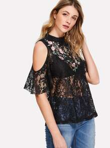 Flower Embroidered Open Shoulder Lace Top
