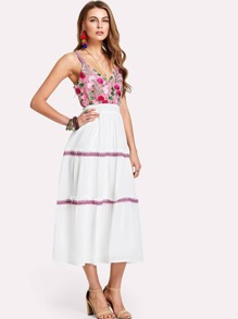 Embroidered Bodice Frilled Dress