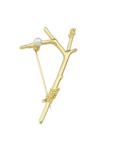 Gold Simulated-Pearl Tree Branches Brooch