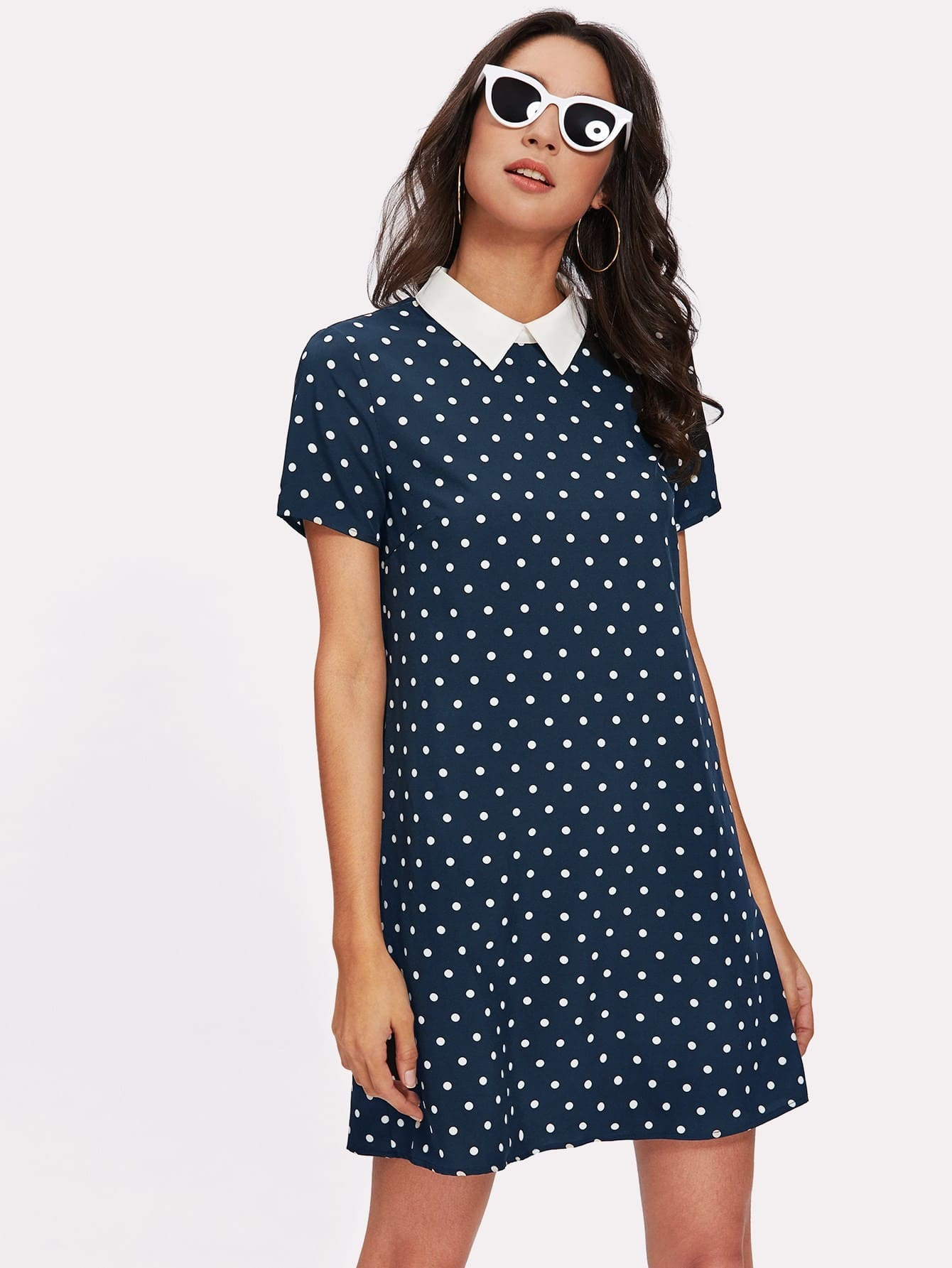 Contrast Collar Polka Dot Dress polka dot slit hem contrast dress