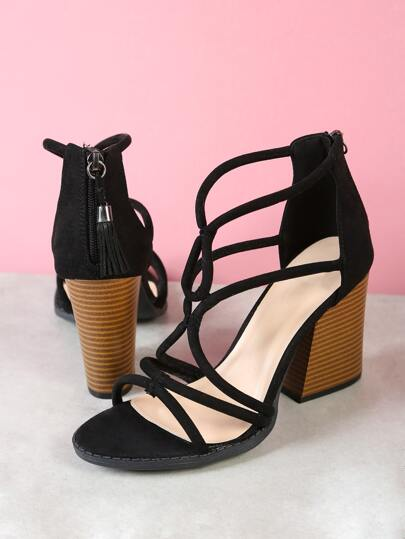 Faux Suede Strappy Caged Chunky Heel with Tassel Zipper Detail BLACK
