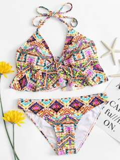 Knot Front Ruffle Halter Tie Dye Bikini Set