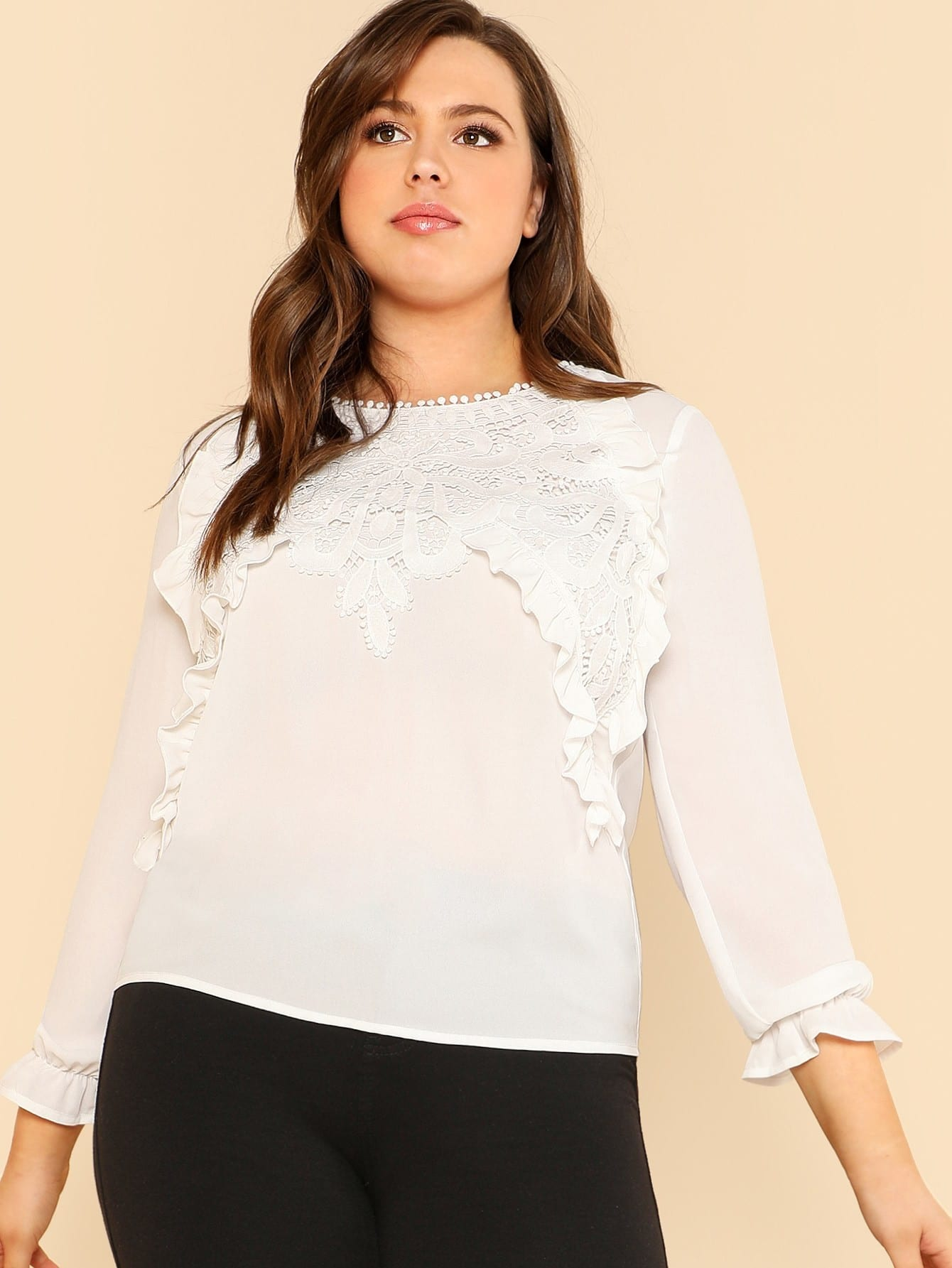 Applique And Ruffle Detail Top patchwork ruffle detail top