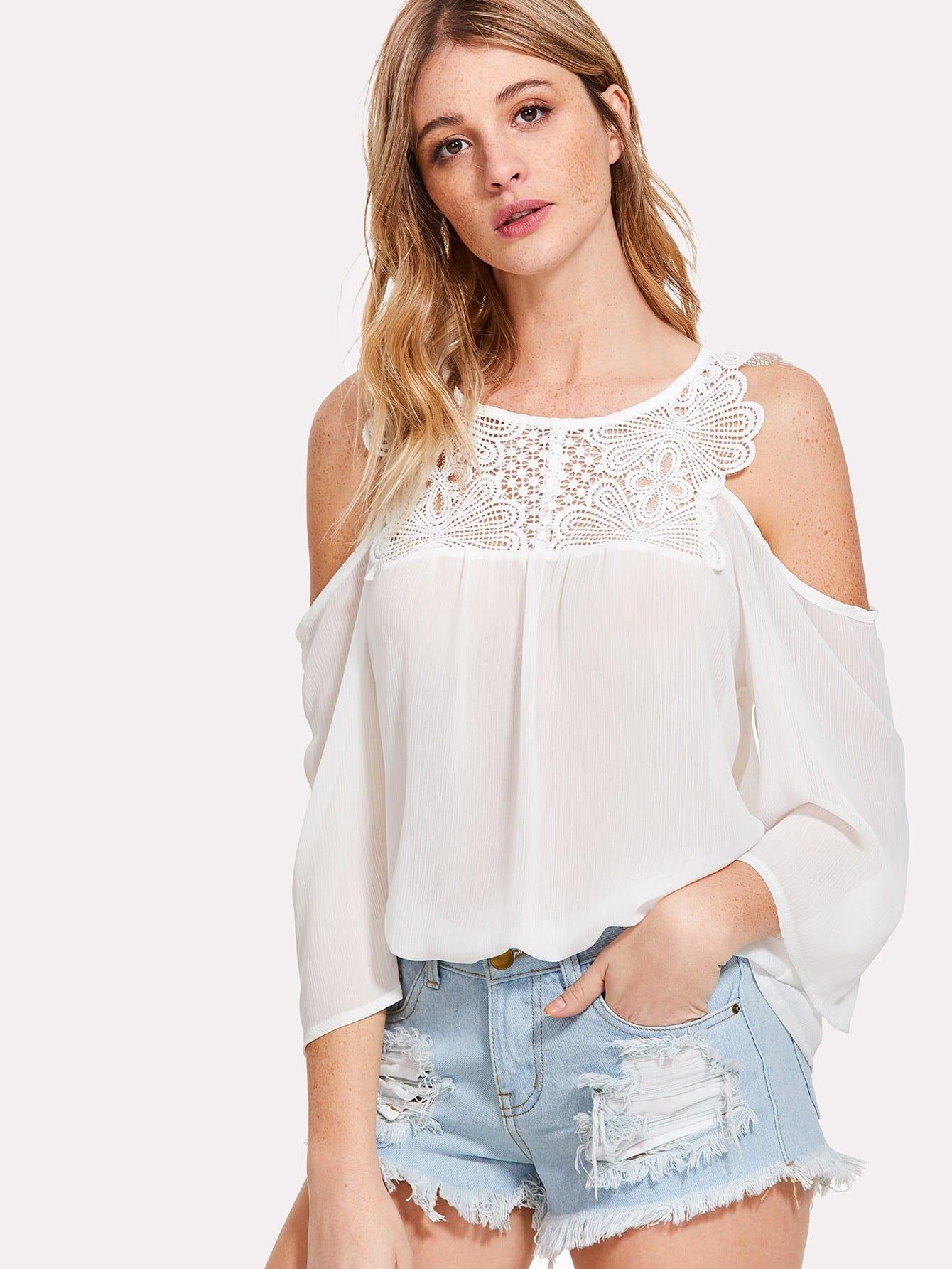 Lace Yoke Cold Shoulder Top lace yoke cold shoulder top