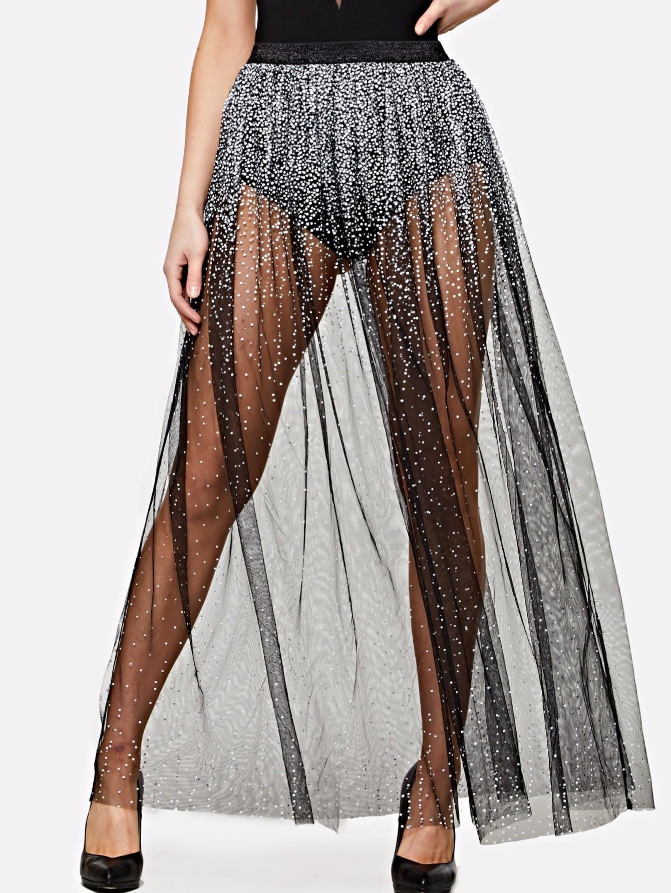 Elastic Waist Sequin Mesh Maxi Skirt mesh pleated elastic waist skirt
