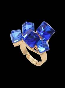 Blue Crystal  Geometric Finger Ring