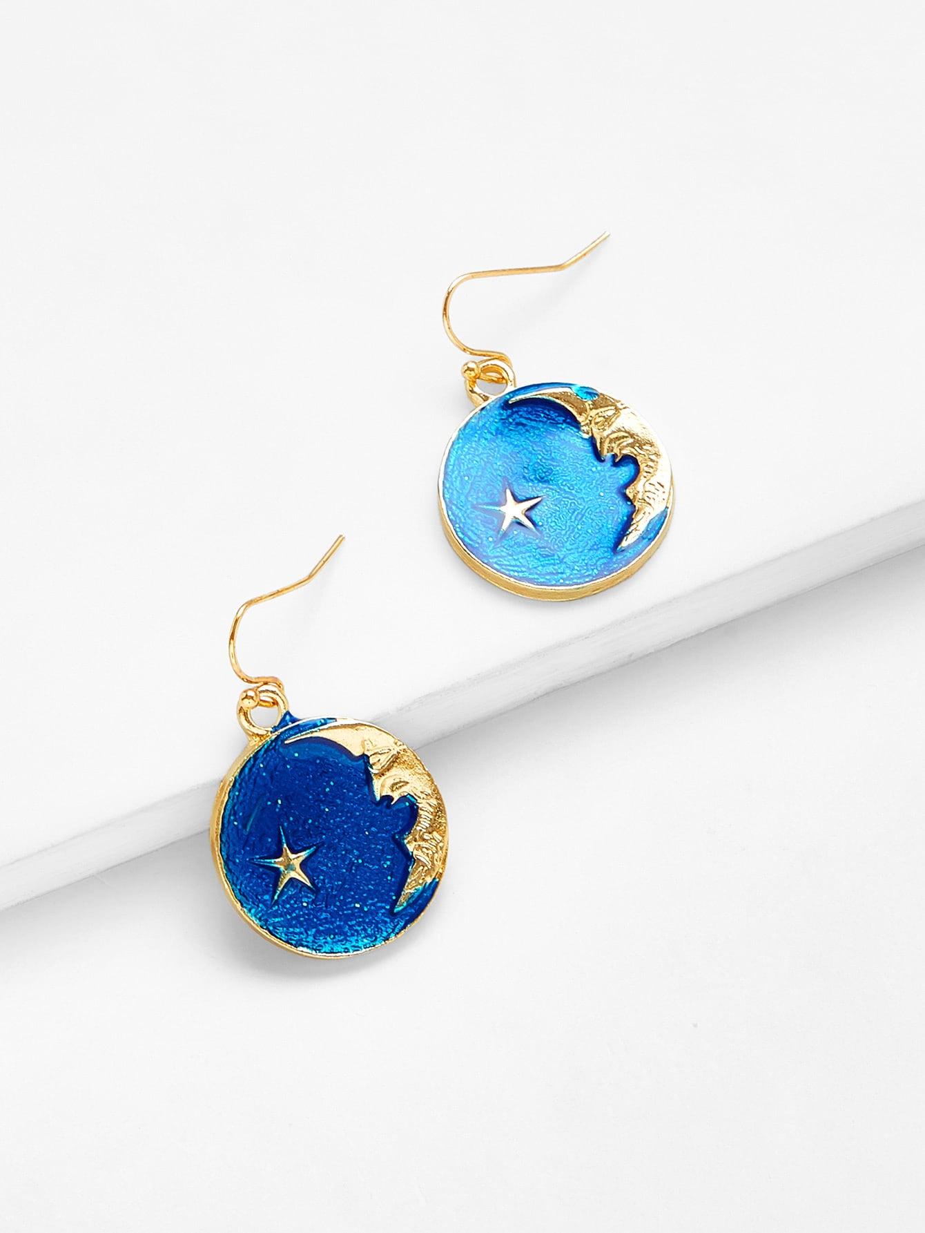 Galaxy Pattern Round Drop Earrings two tone round flake drop earrings