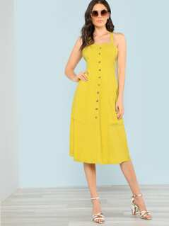 Crisscross Open Back Button Up Dress