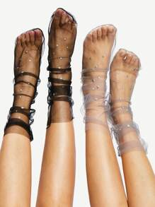 Star Decorated Mesh Slouch Socks 2Pairs