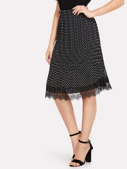 Lace Hem Pleated Polka Dot Skirt