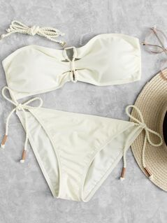 Bandeau Top With Tie Side Bikini Set