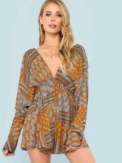 Boho Print Deep V Neckline Dolman Sleeve Dress MUSTARD