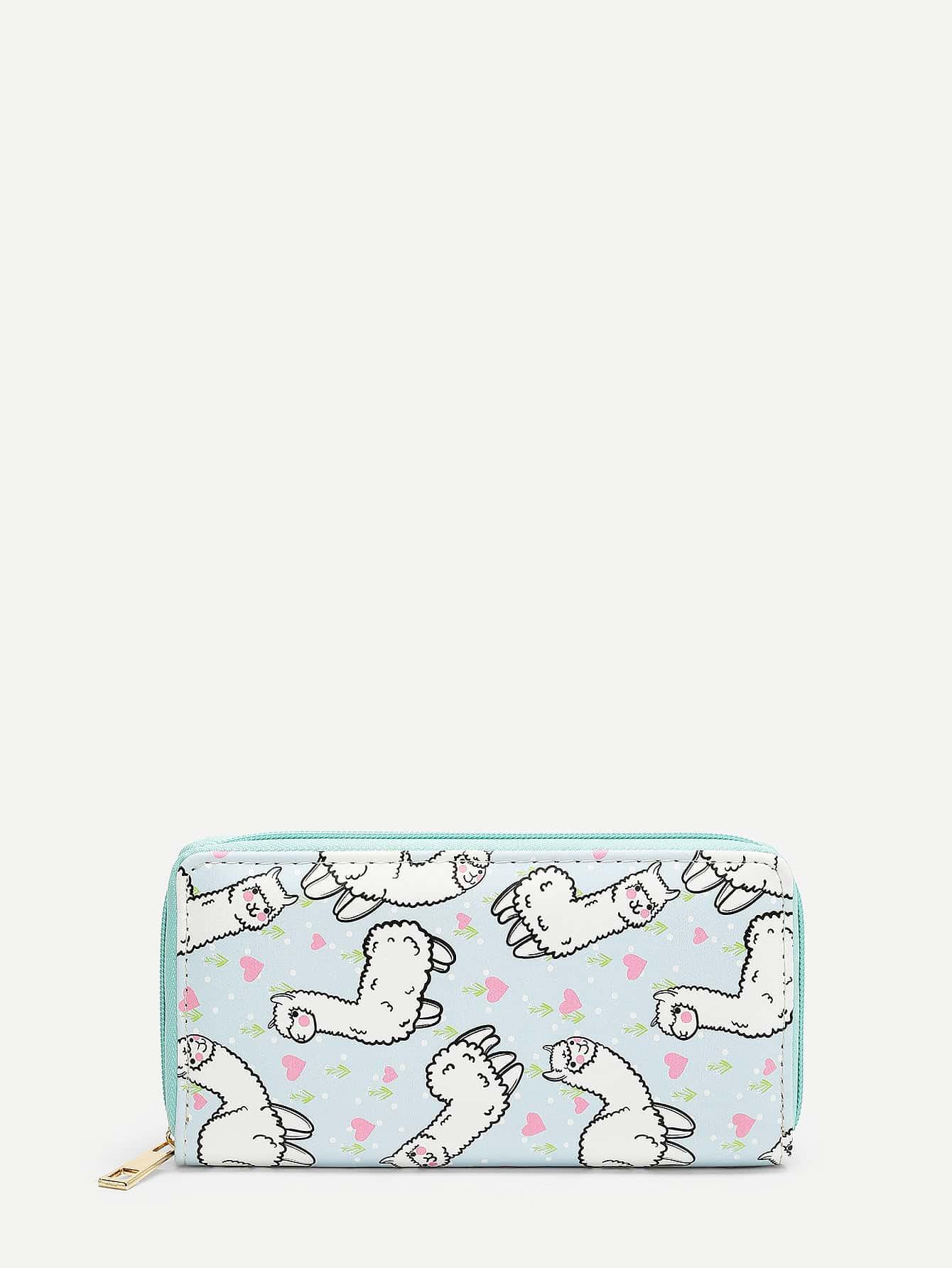 Alpaca Cartoon Print PU Wallet