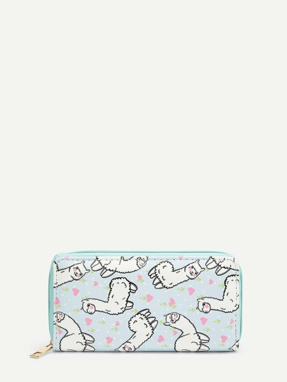 Alpaca Cartoon Print PU Wallet