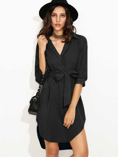 Self Tie High Low Curved Hem Shirt Dress