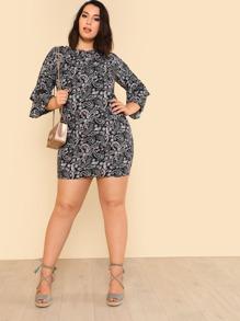 Flounce Sleeve Paisley Print Dress
