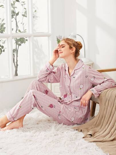 Contrast Binding Pitaya Print Shirt & Pants PJ Set