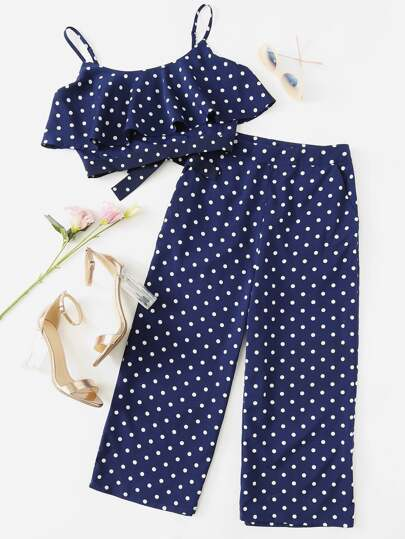 Polka Dot Crop Cami Top And Palazzo Pants Set