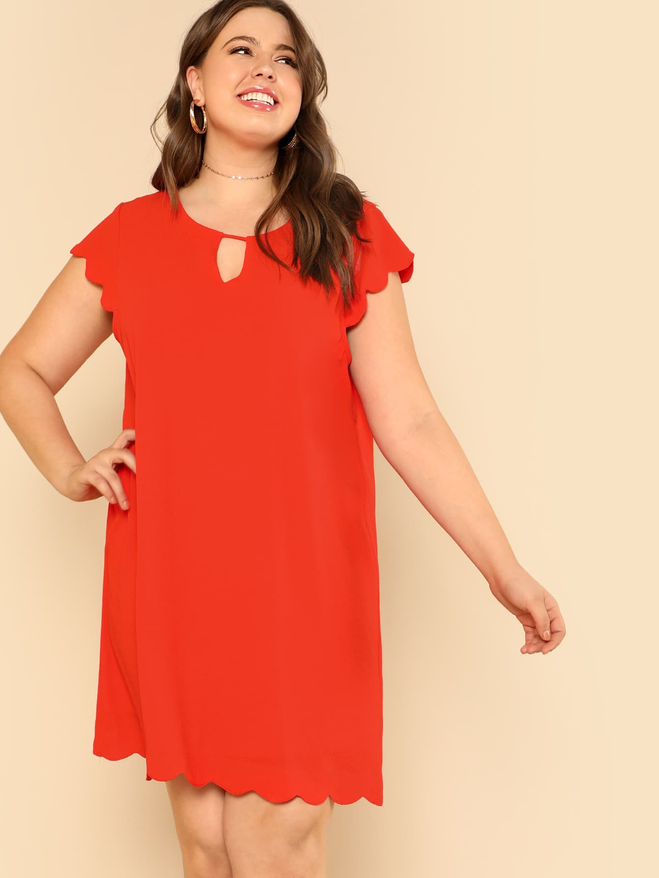 Plus Keyhole Front Solid Scalloped Dress keyhole front mix media fitted dress