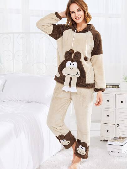 Monkey Pattern Hooded Fuzzy PJ Set