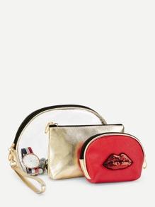 Sequin Lips Detail Makeup Bag 3Pc