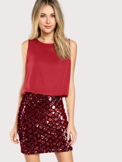 Sequin Embellished Mixed Media Dress