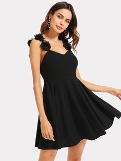 Flower Applique Strap Skater Dress