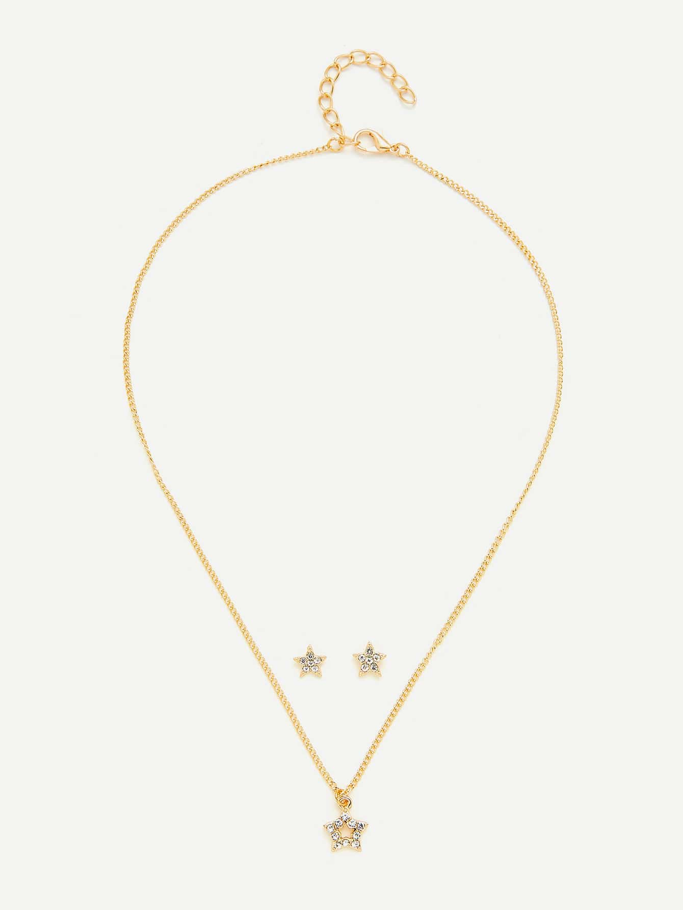 Star Pendant Necklace & Earring Set With Rhinestone er 3789 stylish retro jewelled pendant earring navy blue 2 pcs
