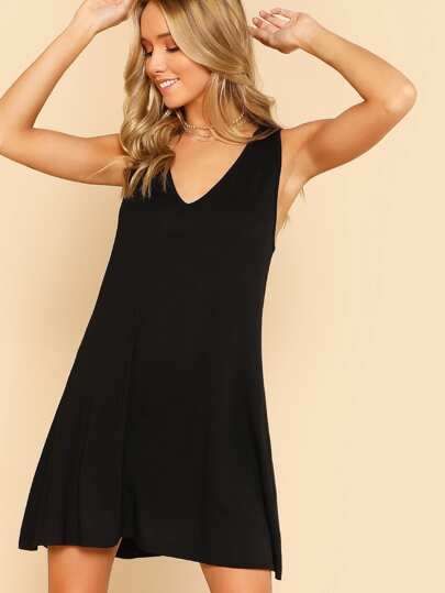 V Neck Sleeveless Swing Dress