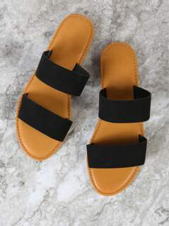 Double Band Slide Sandal BLACK