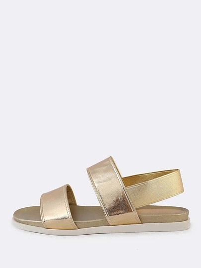 Metallic Double Band Sling Back Sandal GOLD