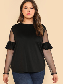 Ruffled Sheer Mesh Sleeve Top