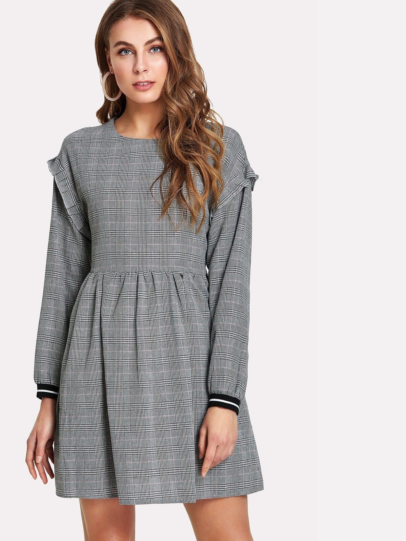 цена Frill Trim Striped Cuff Plaid Smock Dress