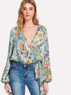 Flower Print Self Belted Surplice Bodysuit