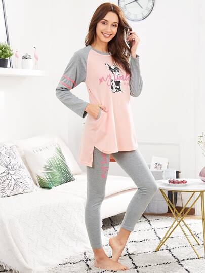 Dog Print Dip Hem Tee & Pants PJ Set