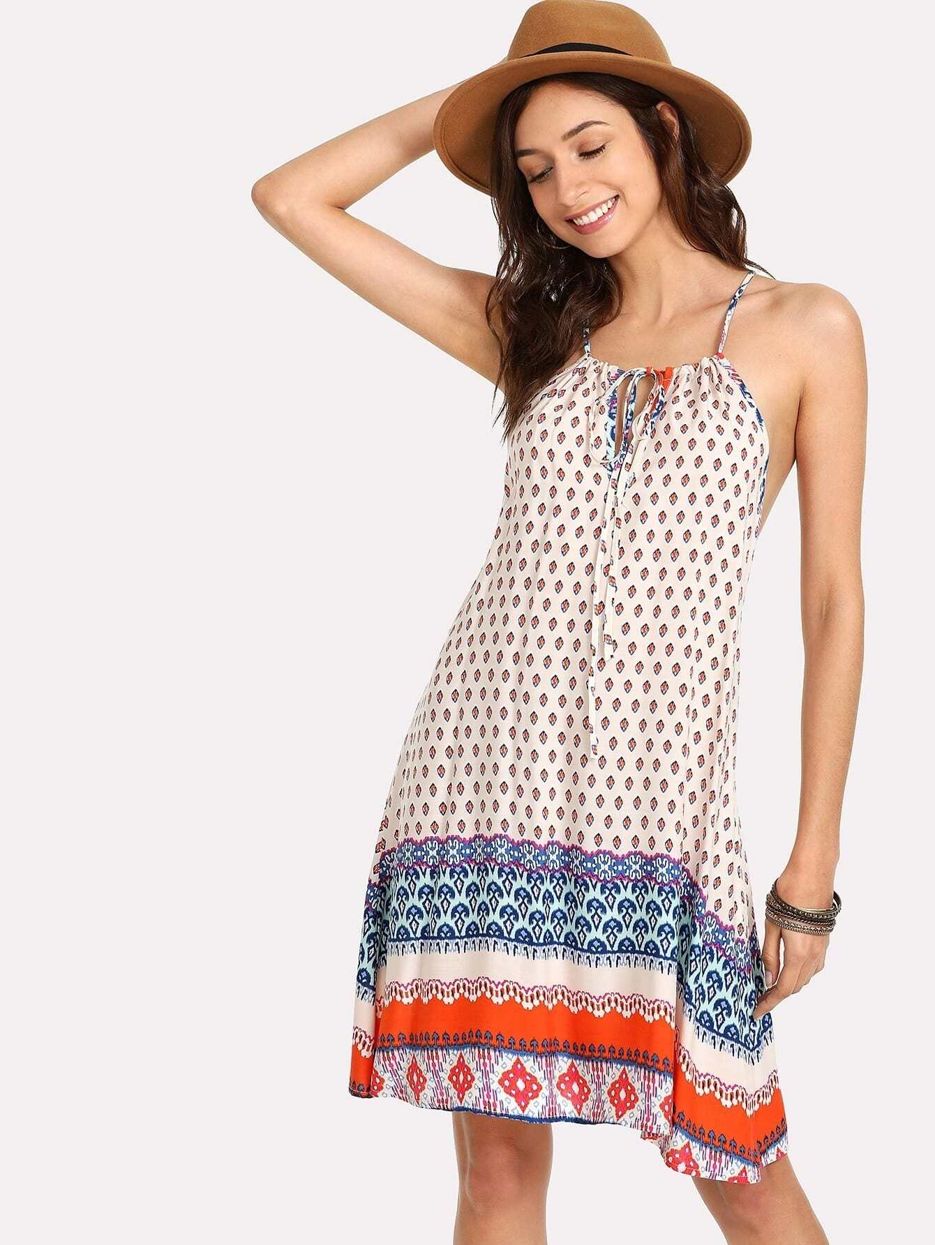 все цены на Ornate Print Knot Front Cami Dress