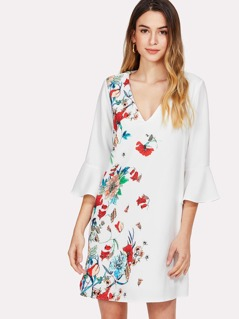 Flounce Sleeve Floral Dress