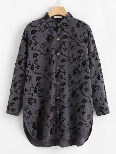 Floral Pattern Shirt Dress