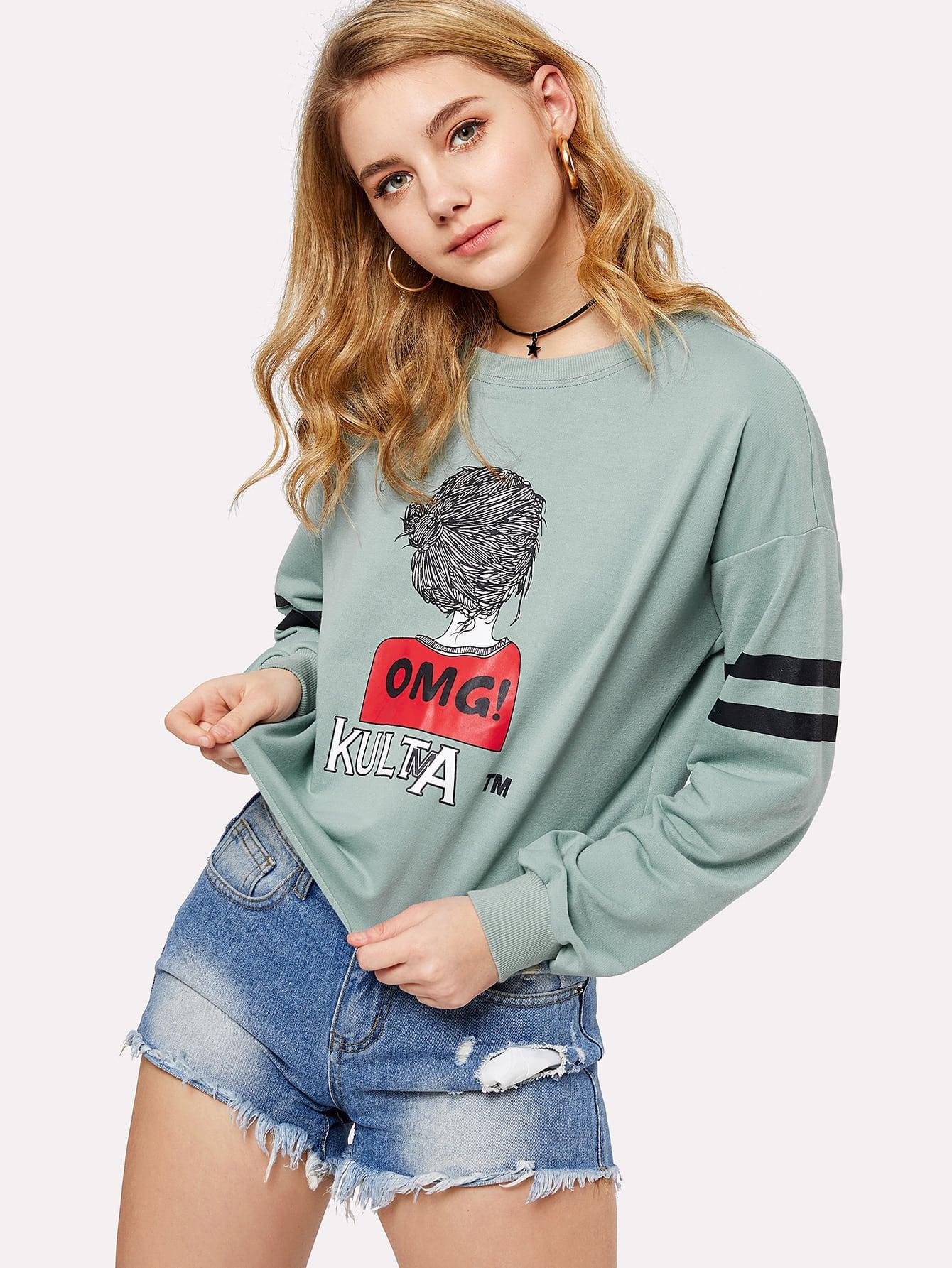 Drop Shoulder Striped Sleeve Graphic Pullover two tone drop shoulder sweatshirt